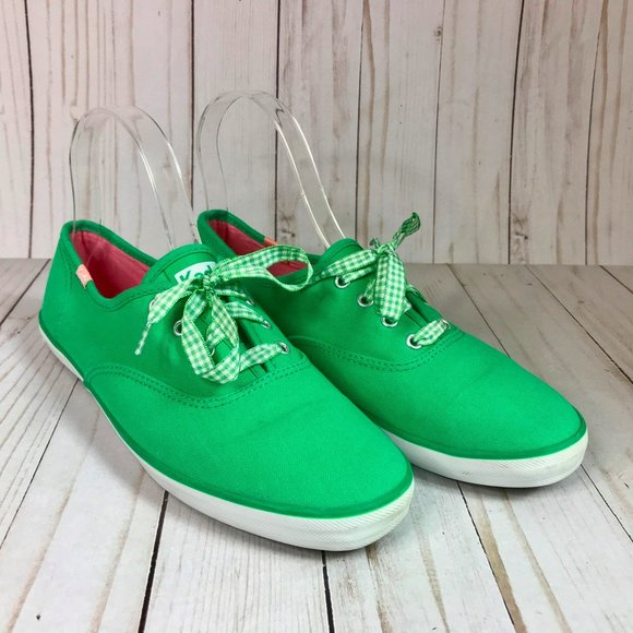 Keds Green Canvas Gingham Lace up Sneaker Flats